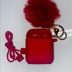 2 Pom Pom AirPod keychain case